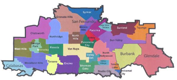 map of san fernando valley service cities