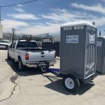 hitch portable toilet trailer to truck