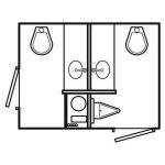 floor diagram of 2 stall luxury restroom