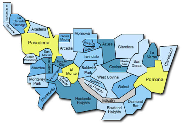 map of san gabriel valley service cities
