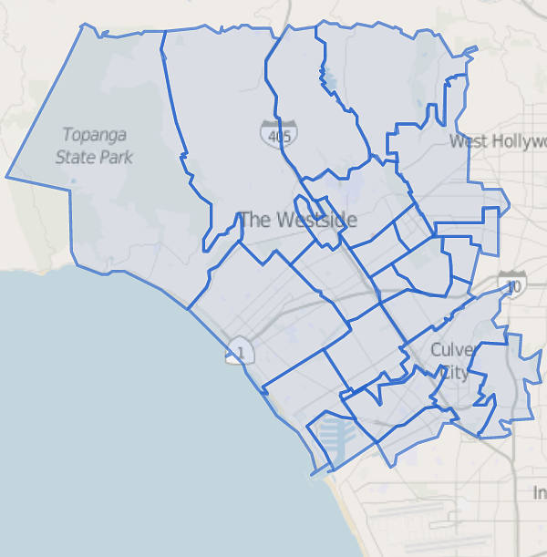 the westside los angeles map outline